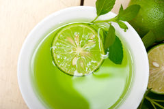 Mint infusion tea tisane with lime. Fresh and healthy mint infusion tea tisane with lime Stock Images