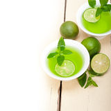 Mint infusion tea tisane with lime. Fresh and healthy mint infusion tea tisane with lime Stock Photo