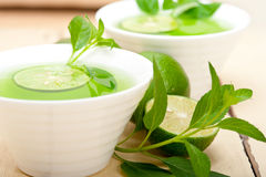 Mint infusion tea tisane with lime Royalty Free Stock Images