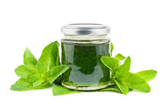 Mint jelly. Jar with mint jelly and mint leaves on white Royalty Free Stock Image