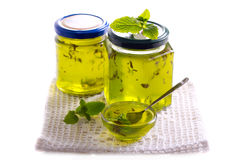 Mint jelly in jars Stock Image