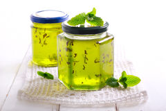 Mint jelly in jars Royalty Free Stock Images