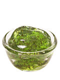 Mint jelly sauce. Close up of mint jelly sauce isolated Royalty Free Stock Images