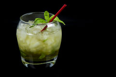 Mint Julep as Seen from the side on Black Background Stock Photo