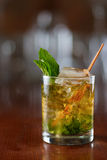 Mint julep. Close up of a mint julep served on the rocks and garnished with fresh green mint on top, kentucky derby drink Stock Images