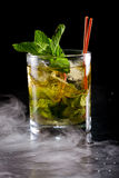 Mint julep. Close up of a mint julep served on the rocks and garnished with fresh green mint on top, kentucky derby drink Stock Photography