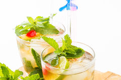 Mint Julep. A sweet cocktail originated in the southern United States. This cocktail is family of the smash drinks like the mojito and brandy smash. It is made Stock Photos