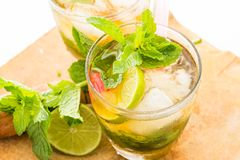 Mint Julep. A sweet cocktail originated in the southern United States. This cocktail is family of the smash drinks like the mojito and brandy smash. It is made Royalty Free Stock Image