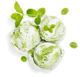 Mint or Kiwi Ice Cream, view from above Royalty Free Stock Image