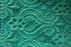 Mint lace fabric. Close-up of mint lace fabric royalty free stock photography