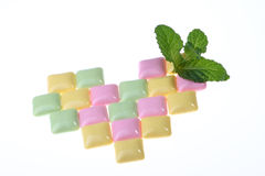 Mint Leaf And Chewing Gum Royalty Free Stock Photos