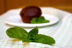Mint Leaf and Chocolate Muffin on the Saucer in Background Royalty Free Stock Photos