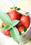 Mint Leaf on Fresh Strawberries Stock Photos