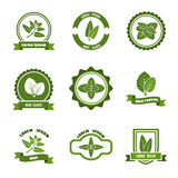 Mint leaves vector logos, label, emblems set stock illustration