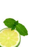 Mint and Lemon. A slice of green lemon and mint leaves stock image