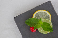 Mint and lemon slices garnish Royalty Free Stock Photography