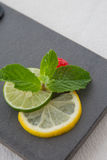 Mint and lemon slices garnish. Served on the plate Royalty Free Stock Photo