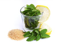 Mint, lemon and sugar Stock Photography