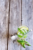 Mint lemonade. Mint lemonad in glass. Copyspace background Royalty Free Stock Images