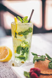 Mint lemonade. Tumbler glass of mint infused lemonade on table with fresh fruit and waffle cookies Royalty Free Stock Image