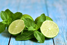 Mint with lime. Royalty Free Stock Images