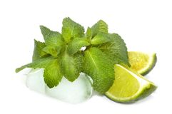 Mint,Lime & Ice. Mojito ingredients.Isolated on white royalty free stock photo