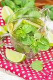 Mint and lime iced green tea Royalty Free Stock Photo