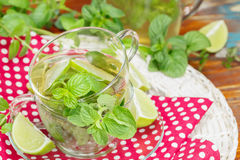 Mint and lime iced green tea Royalty Free Stock Photography