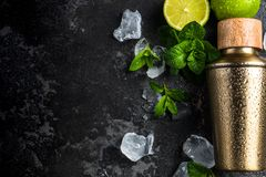Mint and lime refreshing cocktail, border background. Alcohol background bar barman bartender beverage black caipirinha citrus cocktail cold cool copyspace cuban royalty free stock photos