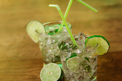 Mint and lime refreshing summer cocktails Stock Photo