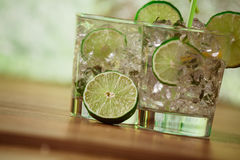 Mint and lime refreshing summer cocktails Stock Image
