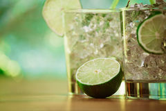 Mint and lime refreshing summer cocktails Stock Photography