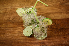 Mint and lime refreshing summer cocktails Royalty Free Stock Photo