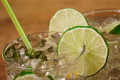 Mint and lime refreshing summer cocktails Royalty Free Stock Image