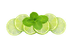 Mint with lime sliced isolated on white Royalty Free Stock Images