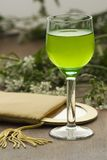 Mint liquor III. A glass with some mint liquor and mirror Stock Photography