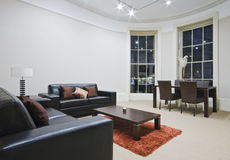 Mint living room. With large bay window Stock Photography