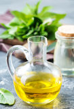 Mint oil. In bottle and on a table Stock Image