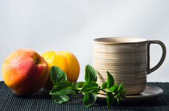 Mint and peaches Stock Photography