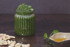 Mint pesto in jar Stock Photo