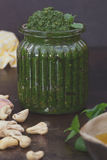 Mint pesto in jar Royalty Free Stock Photos