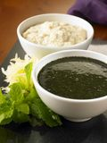 Mint sauce and horseradish sauce Royalty Free Stock Images