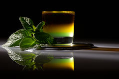 Mint shot. Designer shot containing several type of liquors served with fresh mint Stock Photos