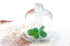 Mint sprigs in clear glass Stock Photo