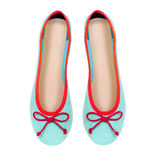 Mint summer flat shoes isolated on white background. Mint summer flat shoes isolated on white stock photo