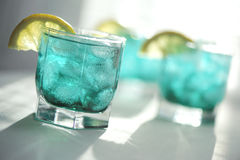 Mint syrup with a lemon and ice Royalty Free Stock Images