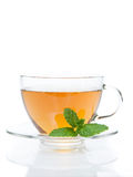 Mint tea. With peppermint leaf in white background Stock Photos