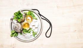 Mint tea arabic delights Ramadan rosary Royalty Free Stock Photos