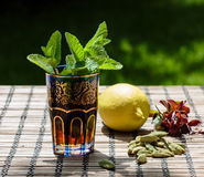 Mint tea. Arabic traditional refreshing mint tea Royalty Free Stock Photo