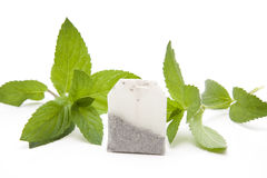 Mint with tea bag Stock Images